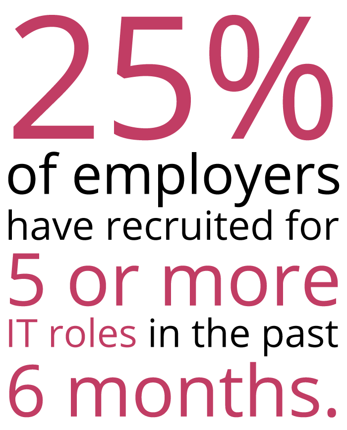 25% of recruiters have recruited for 5 or more IT roles in the past 6 months - Sourced Report